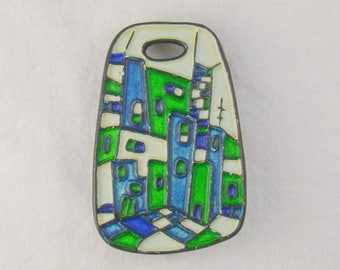 Mid Century Modernist City Scape Brooch Signed Aultmann
