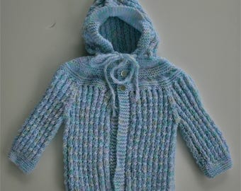 Hand Knitted  Hooded Twisted Stitch Multi Colored  Sweater 6 to 9 mos.READY TO SHIP