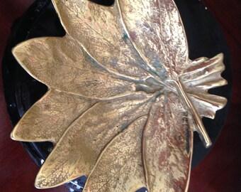 Vintage Virginia Metal crafters Brass Sage Leaf Dish Dated