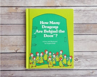 How Many Dragons Are Behind The Door Book About Dragons Fantasy Children's Book Vintage Kids Library Book Lime Green Dragon Book 80s SciFi