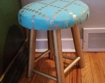Vintage Reupholstered Stool