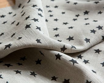 Starry Night Fabric / Black -  Hand screen printed Flax Linen