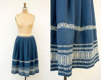 VINTAGE 1960s German Woven Wool Pleated Folk Skirt | European Folk Skirt | Indigo High Waisted Skirt | Guatemalan Woven Skirt