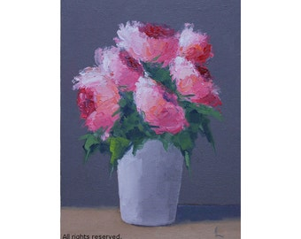 "Oil Painting ''Flowers are sweet"" Still Live Painting, Fine Art Oil on Canvas, Small Painting Home Decor 13x18cm"