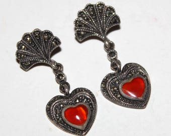 Vintage Art Deco STERLING SILVER Marcasite Carnelian Heart Fan Post Earrings-Dangle Estate Jewelry
