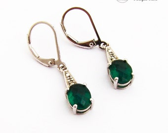 Faceted Synthetic Beryls Dangle Earrings Sterling Silver