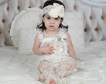 Girl Lace Romper Set - Baby Romper - Lace Petti Romper - Petti Lace Romper - 1st Birthday Outfit - Baby Lace Romper - Newborn Romper