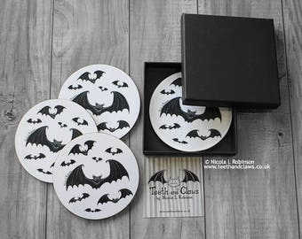 Bat Coasters, Gothic Home Decor, Gothic Gift, Halloween, Set of Coasters, Bats Decor, Geek, Witch, Pagan, Bats, Housewarming Gift, Barware