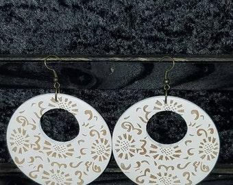 Sunflower Carved Wooden Earrings - White