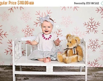 7ft x 7ft Snowflakes Photography Backdrop – Christmas Photo Background  – Item 1781