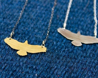 Soaring Hawk Eagle Necklace In Sterling or Brass