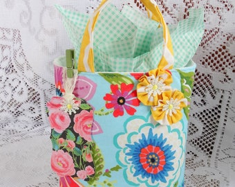 Bright Floral Fabric Gift Bag, Gift Wrap, Gifts, Birthday Wrap, Free USA Shipping