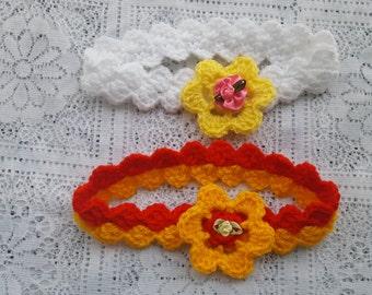 PDF Slanting square baby headband crochet pattern