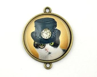 1 steampunk cat glass connector bronze tone,30mm # CON 226