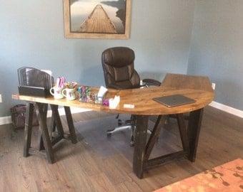 L-Shaped Sawhorse Desk, U-shaped, Table, Rustic Corner Desk, Reception Industrial
