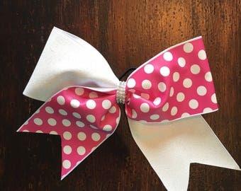Glitter cheer bow on a hair elastic