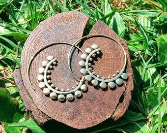 Brass spiral earrings, Ethnic earrings, tribal earrings, boho earrings, indian earrings