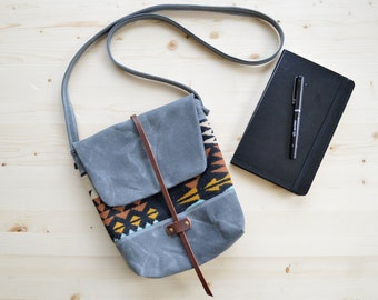 Waxed Canvas and Pendleton® Wool Fabric Purse / Waxed Canvas Bag
