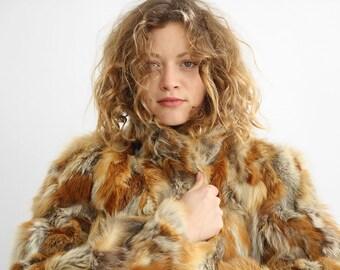 Glamourous Red Fox Fur Coat, Brown Fur Swing Coat, Calico Fur Coat from  60's  / Size  Medium