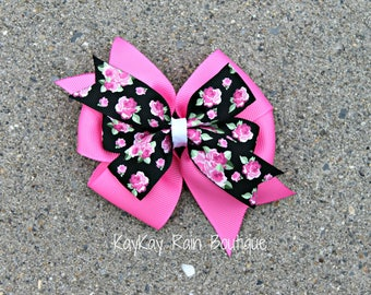 Pink And Black Floral Hair Bow - Floral Hair Bow - 4 Inch Hair Bow - Girls Hair Bow - Toddler Hair Bow - Pink Hair Bow - Pink Flower Bow