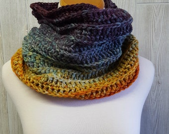 Rainbow cowl, hand dyed yarn, crochet owl, varigated yarn, colorful accessory, womens gift, christmas gift