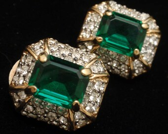 Emerald Green Clip-Back Earrings Vintage D'Orlan