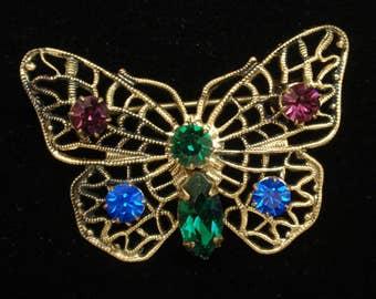 Butterfly Pin Brooch Multi-Colored Rhinestones