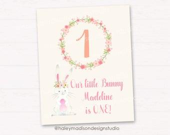 Somebunny Birthday Sign, Bunny welcome sign, 8x10 PRINTABLE FILE