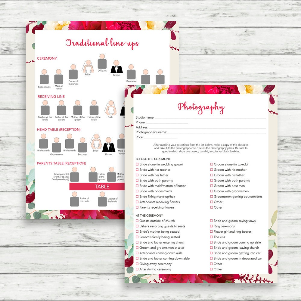 Printable Wedding Planner Binder Planning A Rustic: Boho Wedding Binder, Printable Wedding Planner, Burgundy