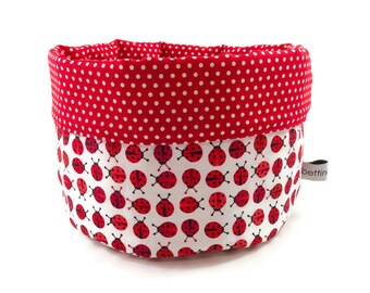 Fabric basket Ladybug red white - bread basket accessories