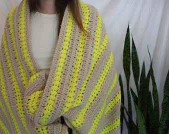 Blanket Throw Neon Yellow and Beige Hand Crocheted Blanket Throw- Vintage Throw- Crochet- Handmade Blanket