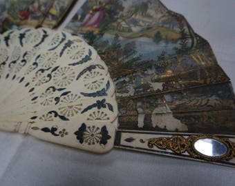 VINTAGE FAN FRANCE late 18th early 19th Century Hand painted Museum quality