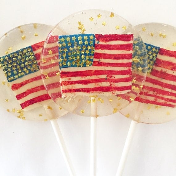 3 Apple Pie Flavored Vintage American Flag Lollipops