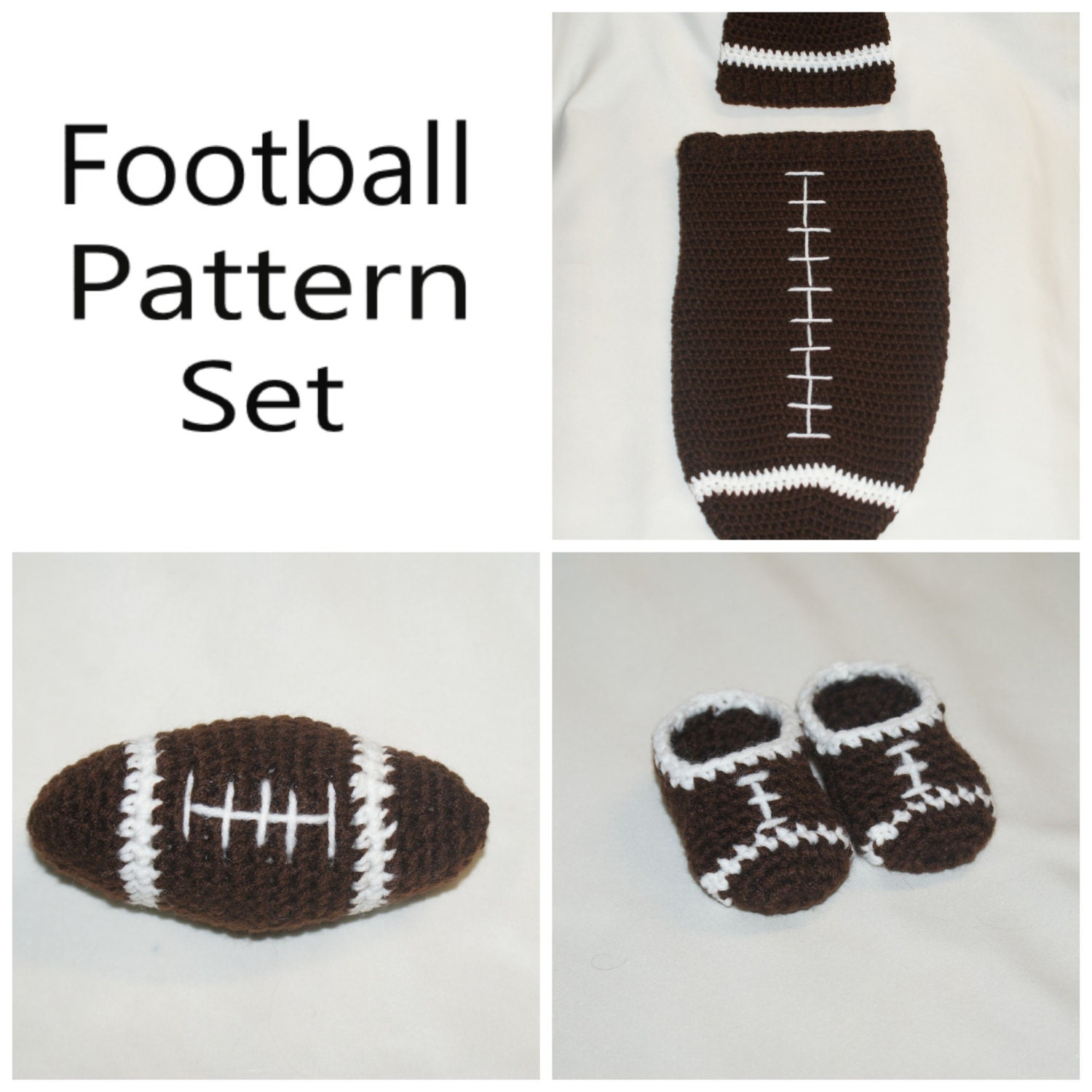 Free Printable Crochet Patterns For Baby Cocoons : Crochet Football Newborn Cocoon and Hat Booties and Toy