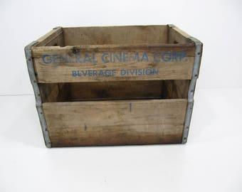 vintage wood Crate,  general cinema corp crate, wooden crate, storage crate, storage box, industrial crate, pop crate, photo prop