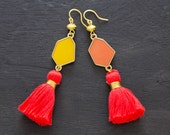 Geometric Tassel Earrings with Red Tassels and Orange and Yellow Geometric Charms, Geometric Jewelry, Modern Jewelry
