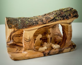 Olive Wood Nativity grotto /carved nativity creche/ Holy Land - E05S