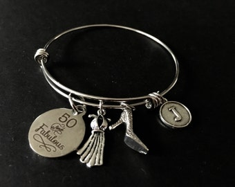 50 & FABULOUS Adjustable Stainless Steel Bangle Bracelet with Shoe, Dress and Initial Charm