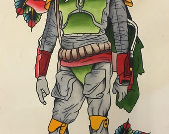 Tattoo Inspired Rose Bounty Hunter Print Boba Fett Star Wars