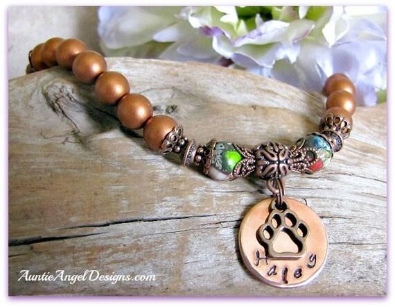 Pet Memorial Jewelry, Custom Paw Print Bracelet, Custom Stamped Pet Sympathy Bracelet, Handstamped Dog and Cat Paw Print Sympathy Bracelet
