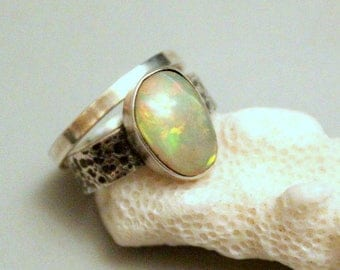 Ethiopian opal ring,  sterling silver 925, opal jewelry, silver ring, opal ring, texture ring,stackable ring, solitaire rings