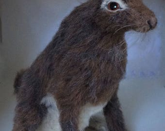 needle felted Hare ..sold