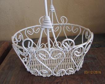 Wedding heart wire Flower Girl Basket white