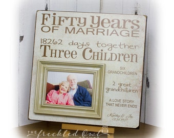 50 Years of Marriage, 50th Anniversary Gift, Golden Anniversary, Fifty Years of Marriage Picture Frame, Grandparent Gift 16 X 16