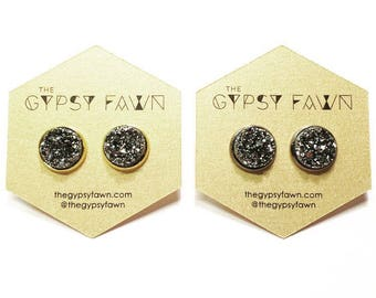 Gunmetal Large Galaxy Druzy Stud Earrings