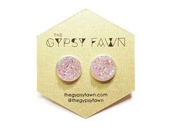 Pink Large Druzy Galaxy Stud Earrings