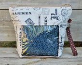 Paris Cotton Knitting/ Crochet Bag with See Through Window, Project Bag with pocket, MakeUp bag, Wristlet handle