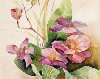 Orchid watercolor painting print  - gift for wife ideas - realistic painting - pink orchid painting - rustic home decor