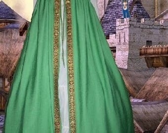 FREE SHIP Medieval Renaissance Gown SCA Garb Costume Green Irish Style Overdress SzFlex lxl
