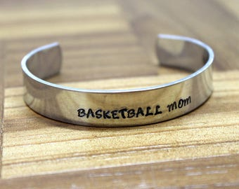 Basketball Mom Bracelet / Mother's Day Gift / Hand Stamped Bracelet / Sports Bracelet / Basketball Bracelet / Soccer Team Bracelet